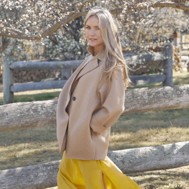 Coat by Harris Wharf London. Dress by Rabens Saloner. Shoes by Birkenstock. All available at The South Store, Bowral, NSW.