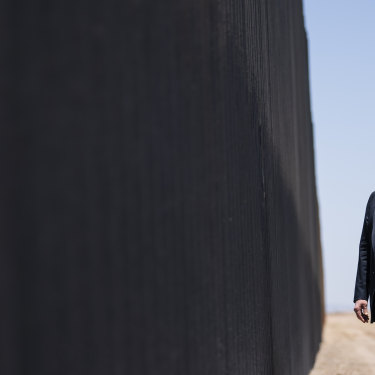 Donald Trump tours a section of the Mexican border wall in Arizona on June 23.