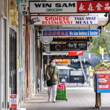 A lonely shopper in Glen Waverley in August,