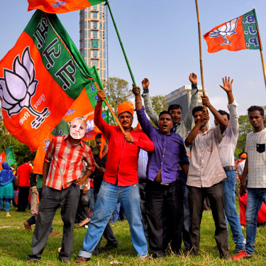 Supporters of Modi's BJP at a rally of 150,000 people in Kolkata in April.