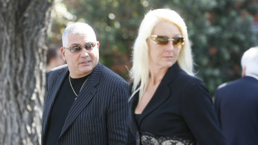 Mick Gatto with Nicola Gobbo photographed at a funeral in 2008.