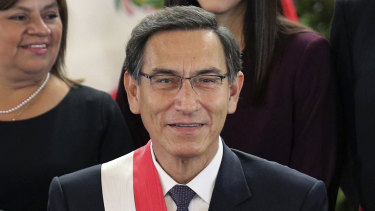 Peruvian President Martin Vizcarra smiles after the swearing-in ceremony in 2019.