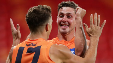 "A standout for the Giants against Geelong, Harry Perryman described the atmosphere of an empty stadium as ""bizarre""."