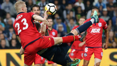 Stunning strike: Besart Berisha's fires home a late winner for Victory.