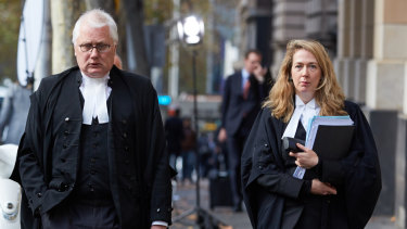 Defence barristers Bret Walker, SC, and Ruth Shann outside court on Thursday.