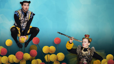 Robbie Curtis is the Worker Bee and Lizzie McRae is ever-striving Queen Bee in the family show A Bee Story.