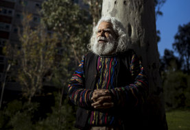 Uncle Jack Charles, pictured at Atherton Gardens, will lending his voice and anecdotes to Yalinguth, a project documenting the history of Fitzroy's Aboriginal  history.