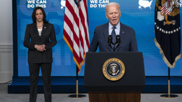 US President Joe Biden, pictured with Vice-President Kamala Harris, has released details of his plan to share 25 million COVID-19 vaccine doses with the world.