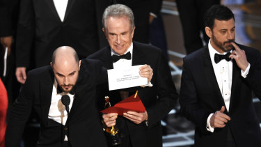 Warren Beatty and the infamous envelope at the Oscars.