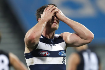 A dejected Patrick Dangerfield at GMHBA Stadium against Carlton.