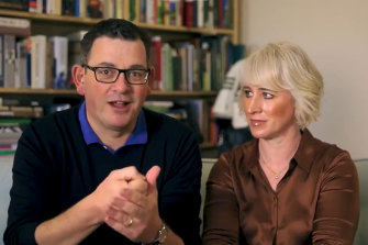 Daniel Andrews and his wife, Catherine, in a still from the video released on Sunday.