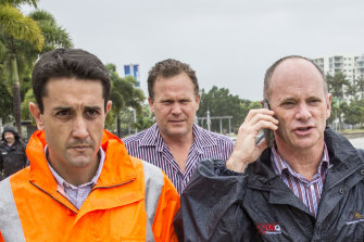 Then-community recovery minister David Crisafulli (left) with then-premier Campbell Newman in Cairns as Cyclone Ita approached in 2014.
