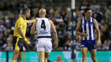 Gary Ablett gave away a free kick against Sam Wright.