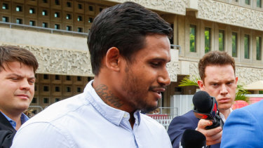 Former NRL player Ben Barba speaks with media outside Townsville Magistrate Court last month.