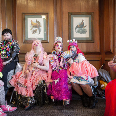 "The stars of Drag Syndrome ""take you to a different world"": from left, Nikita Gold, Drag ""King"" Justin Bond, Miss Gaia Callas, costume designer Sophie Cochevelou, Horrora Shebang and Davina Starr."