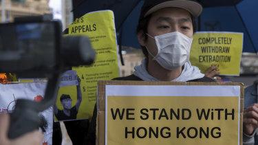 Pro-Hong Kong demonstrators at Federation Square on Sunday.