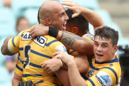 Parramatta celebrate Blake Ferguson's try on Sunday.