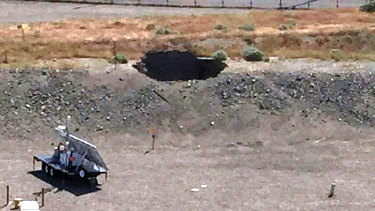 A six-metre by six-metre hole in the roof of a storage tunnel at the Hanford Nuclear Reservation. An emergency was declared in 2017 after the partial collapse of the tunnel that contains rail cars full of radioactive waste.