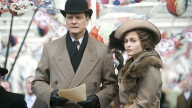 Colin Firth as King George VI and Helena Bonham Carter as the Queen Mother in Tom Hooper's film The King's Speech, produced by Harvey Weinstein.