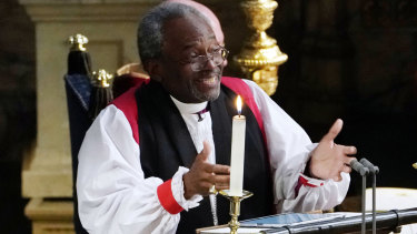 The Most Rev Bishop Michael Curry, primate of the Episcopal Church, veering off script.