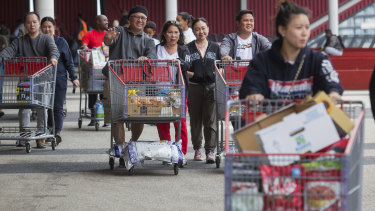 Costco shoppers stocked up on Saturday amidst the uncertainty of the Coronavirus threat.