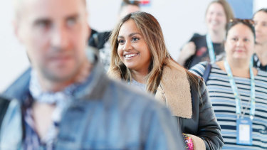 Jessica Mauboy pictured on her first day of rehearsals.