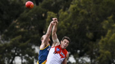 Darcy Cameron contests the ball in the NEAFL against Canberra.