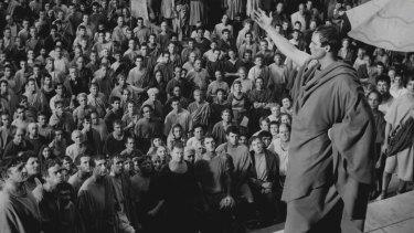 Marlon Brando as Mark Antony in Julius Caesar.