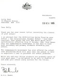 Letter of support from Prime Minister Bob Hawke.