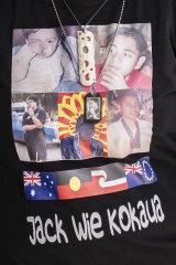 One of the shirts displaying the tribute to Jack Kokaua.