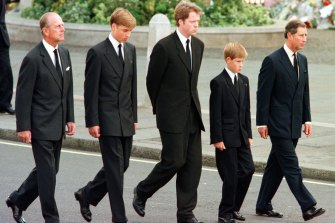 Prince Philip, Prince William, Earl Spencer, Prince Harry and Prince Charles walking behind Princess Diana's coffin in 1997.