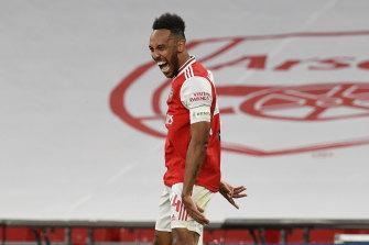 Pierre-Emerick Aubameyang celebrates his second goal for Arsenal.