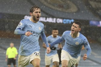 Bernardo Silva celebrates scoring Manchester City's opener in the 2-0 win over Villa.
