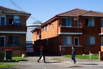 Pedestrians in Punchbowl during lockdown. It is part of the Canterbury-Bankstown local government area of concern.