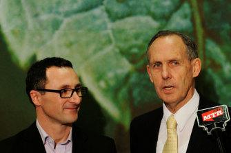 Senator Di Natale on the campaign trail with former Greens leader Bob Brown in 2010.