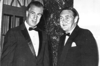 Then US vice-president Spiro Agnew, left, and then Australian Liberal prime minister John Gorton at The Lodge on January 14, 1970.