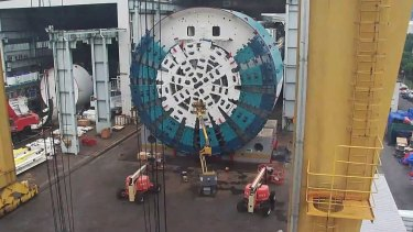 Bella, one of the 4000-tonne boring machines that will create the West Gate Tunnel in Melbourne,  is dissembled at a factory in China so it could be shipped to Australia.