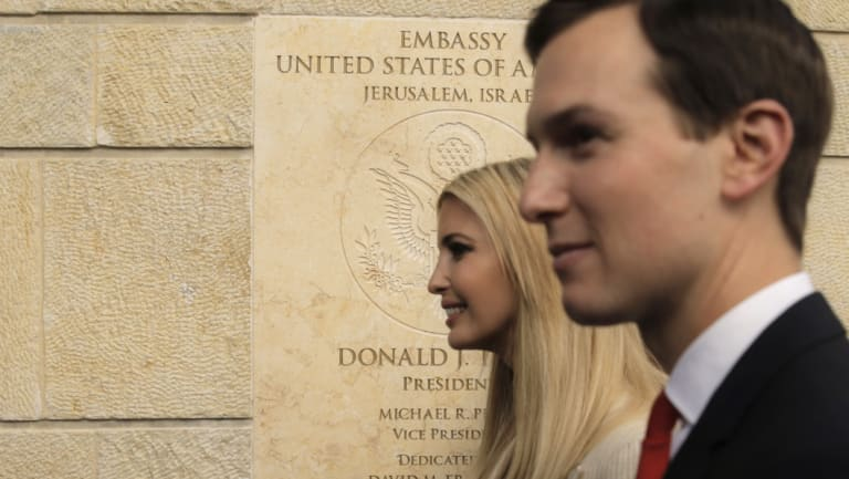US President Donald Trump's daughter Ivanka, left, and her husband and White House senior adviser Jared Kushner attend the opening ceremony of the American embassy in Jerusalem in May.