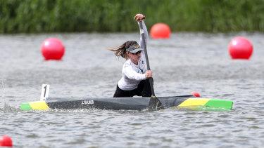 Paddle power: Josephine Bulmer.