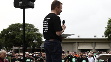 Mick Crowe urges the crowd of pro-coal protesters to win over opponents using logic rather than facts.