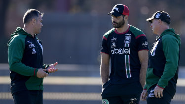 Injury ravaged: Greg Inglis speaks with Anthony Seibold at training.