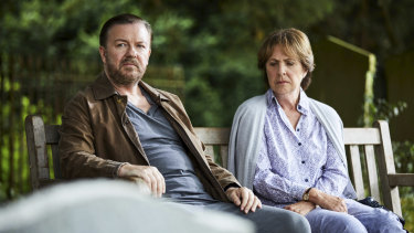 Ricky Gervais and Penelope Wilton in a scene from the Netflix series After Life.