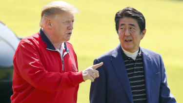 US President Donald Trump joins Shinzo Abe, Japan's prime minister, for a round of golf at Mobara Country Club during his three-day visit.