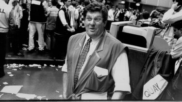 Eclectic career: Whitby, on the floor of the Sydney Futures Exchange in 1993.