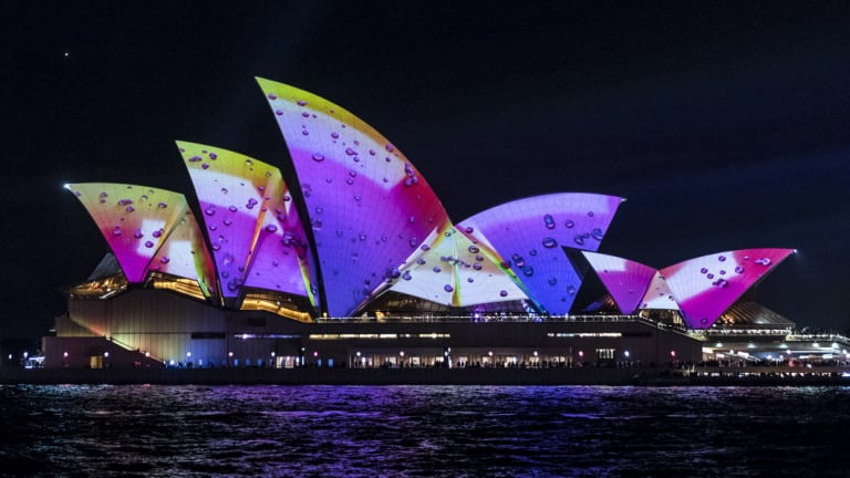 The Sydney Opera house lit up for this year's Vivid.