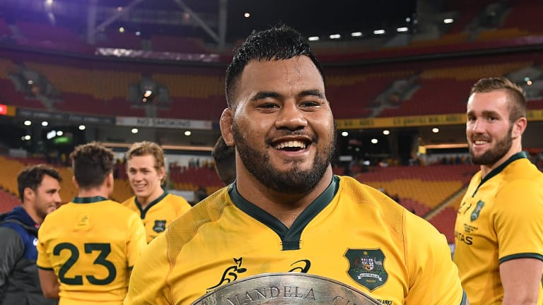Taniela Tupou holds the Mandela Plate after the Wallabies' win.