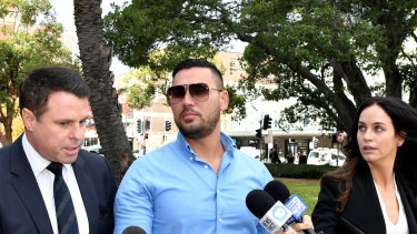 Salim Mehajer arrives at Parramatta District Court on Thursday with a bandaged arm.