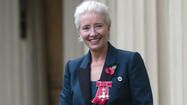 Emma Thompson outside Buckingham Palace after being made a Dame Commander of the British Empire.