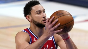 Ben Simmons was back practising with the 76ers on Sunday.