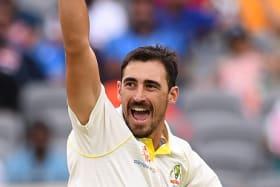 Australian bowler Mitchell Starc reacts.